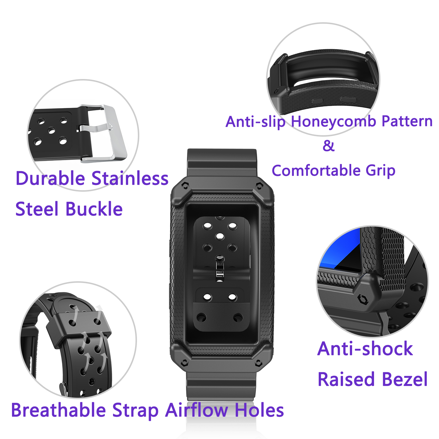 Soft Silicone Replacement band for Samsung Gear Fit2 (PRO)