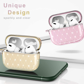 Glitter Clear Cases for Airpods Pro, Sparkly Shock-Absorbing Airpods Pro Cover Protection with Keychain